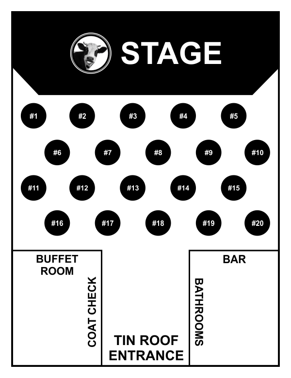 Cow Patti Seating Chart for Tin Roof Venue