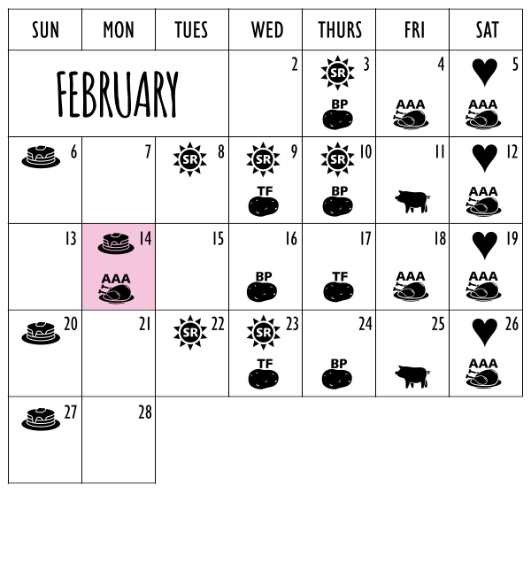 February 2022 On A First Name Basis Cow Patti Calendar of events