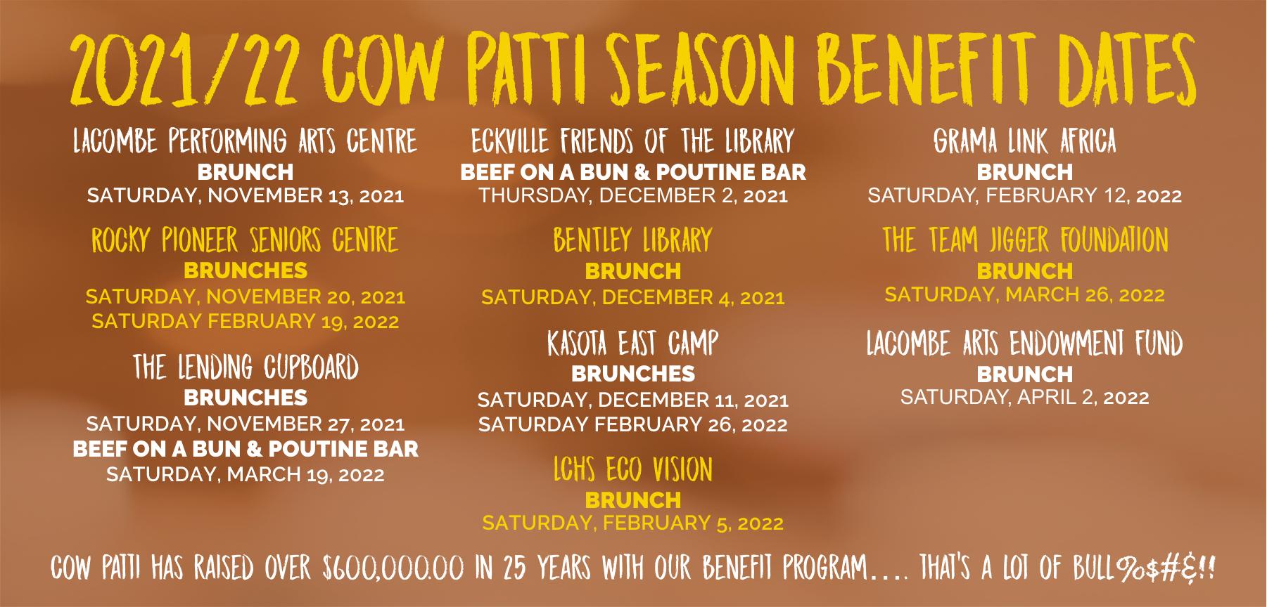 2021/2022 Cow Patti Benefit Theatre Dates